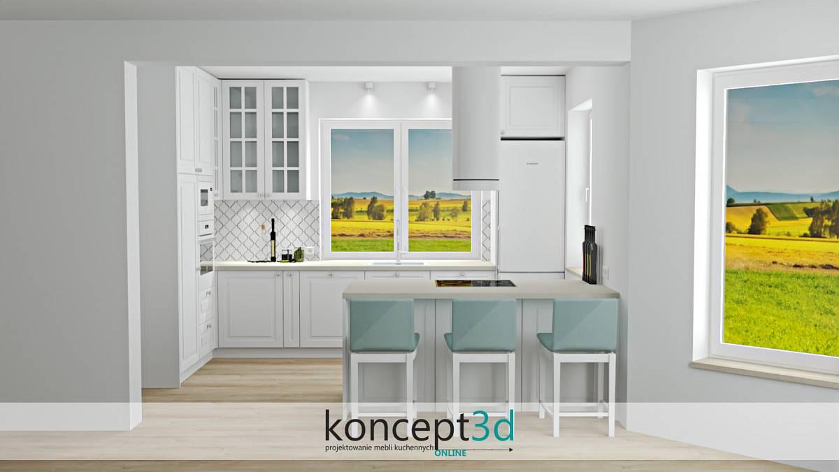Półwysep w klasycznej białej kuchni  z jasnym blatem  koncept3d projekty kuchni
