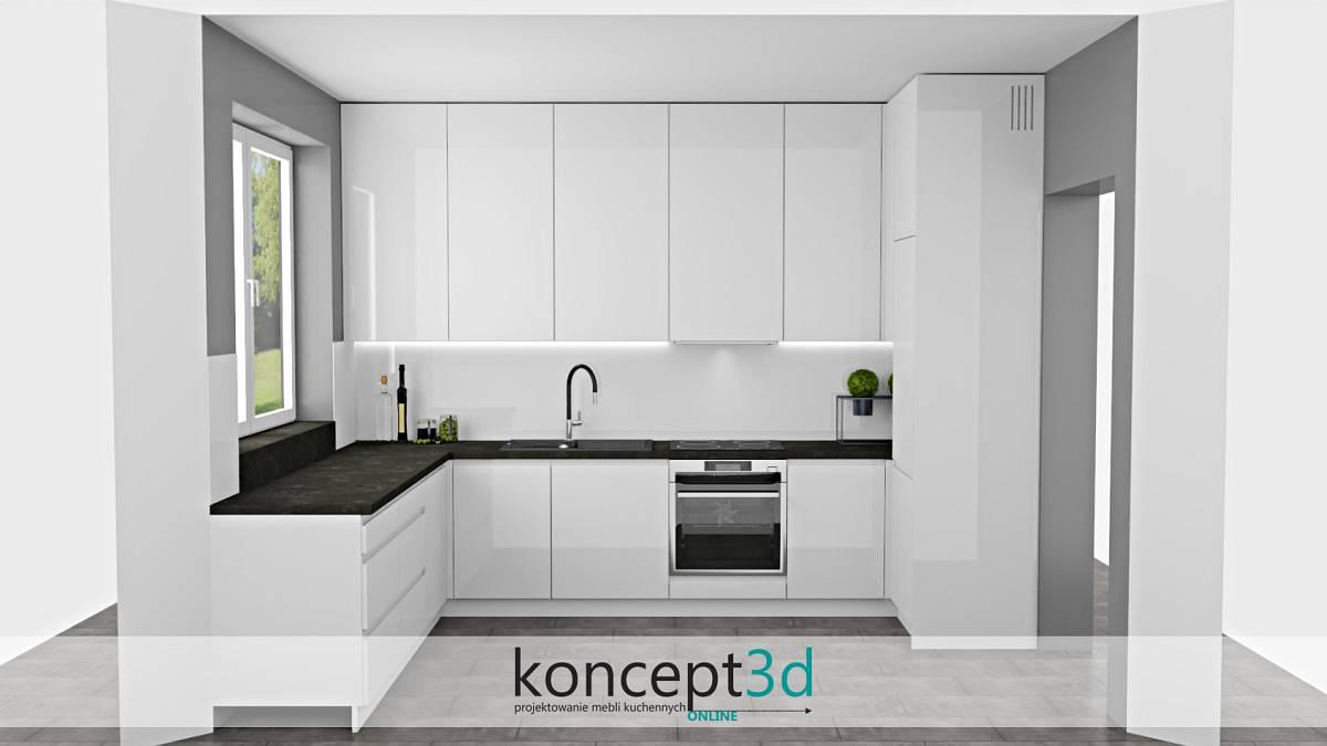 Szara podłoga i blat w białej kuchni   koncept3d projekty kuchni