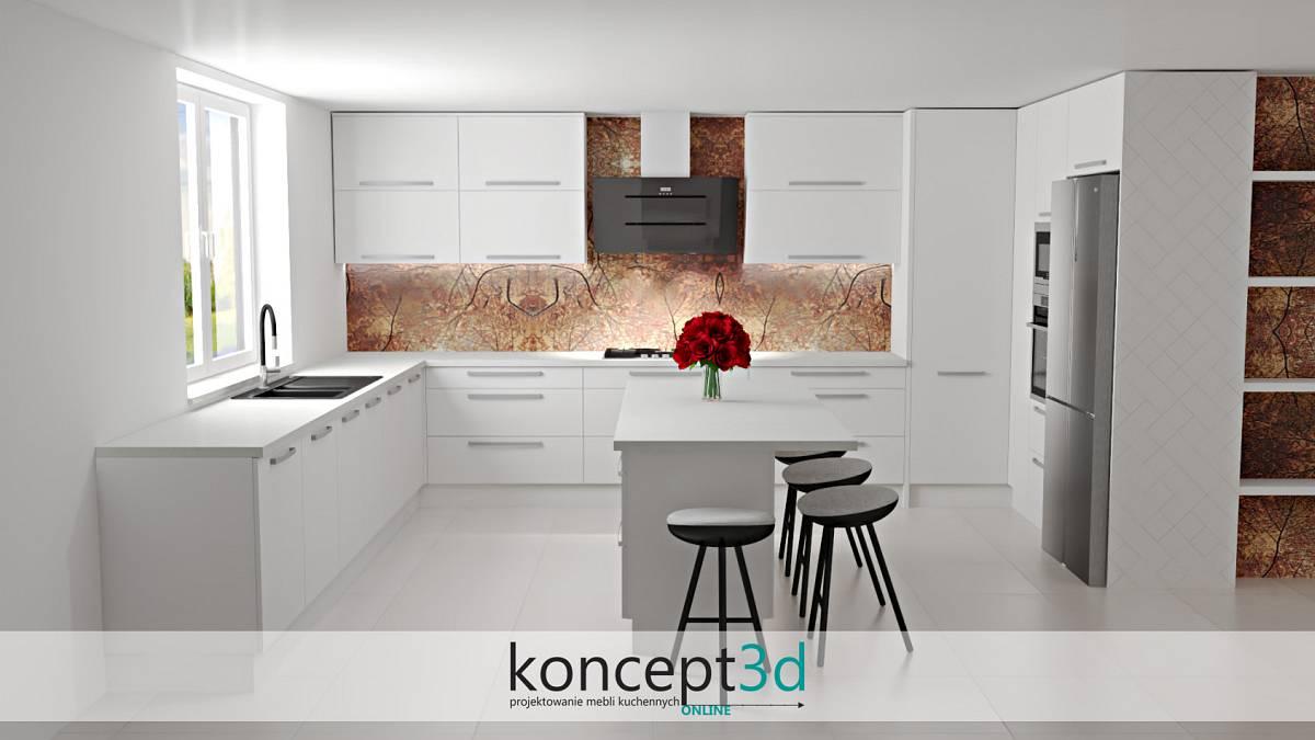 Biała kuchnia z laminatem na ścianie w formie ciekawego wzoru | koncept3d zabudowa ściany w kuchni