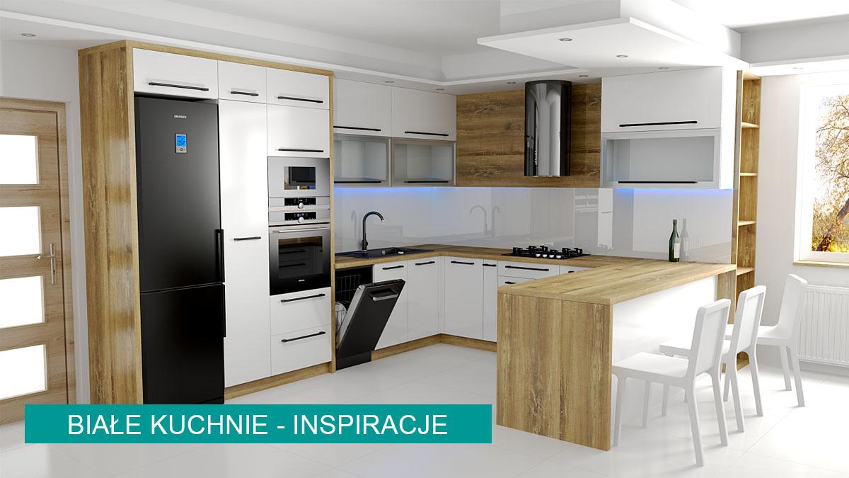 Gotowe projekty kuchni białych | koncept3d