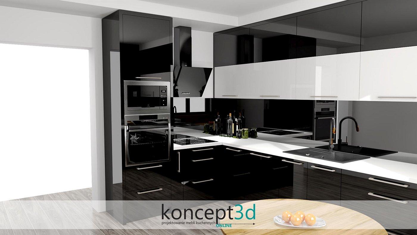 Kuchnia czarna z białymi dodatkami | koncept3d projekty kuchni