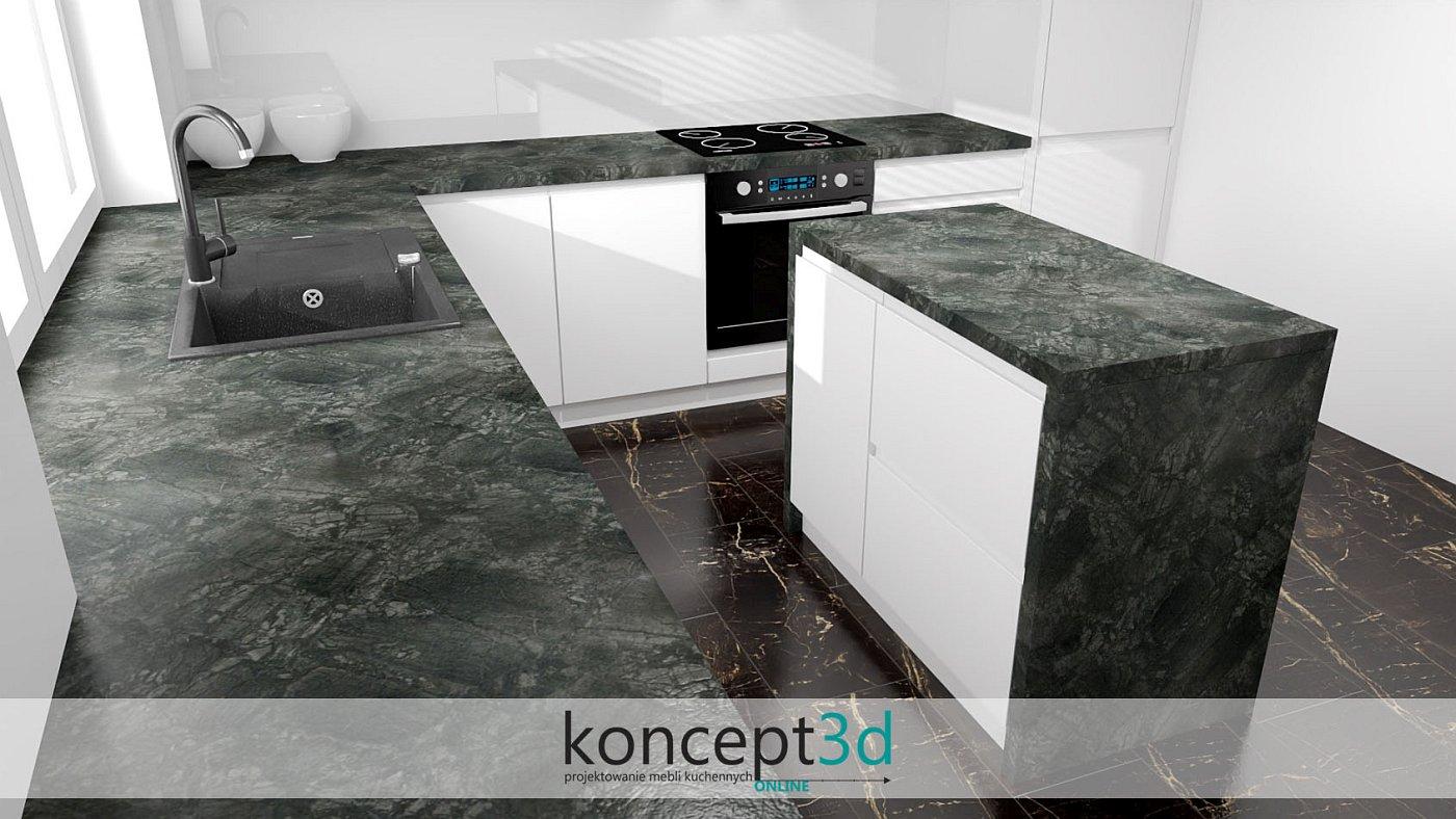 Biała wyspa z ciemnym blatem w czarno białej kuchni