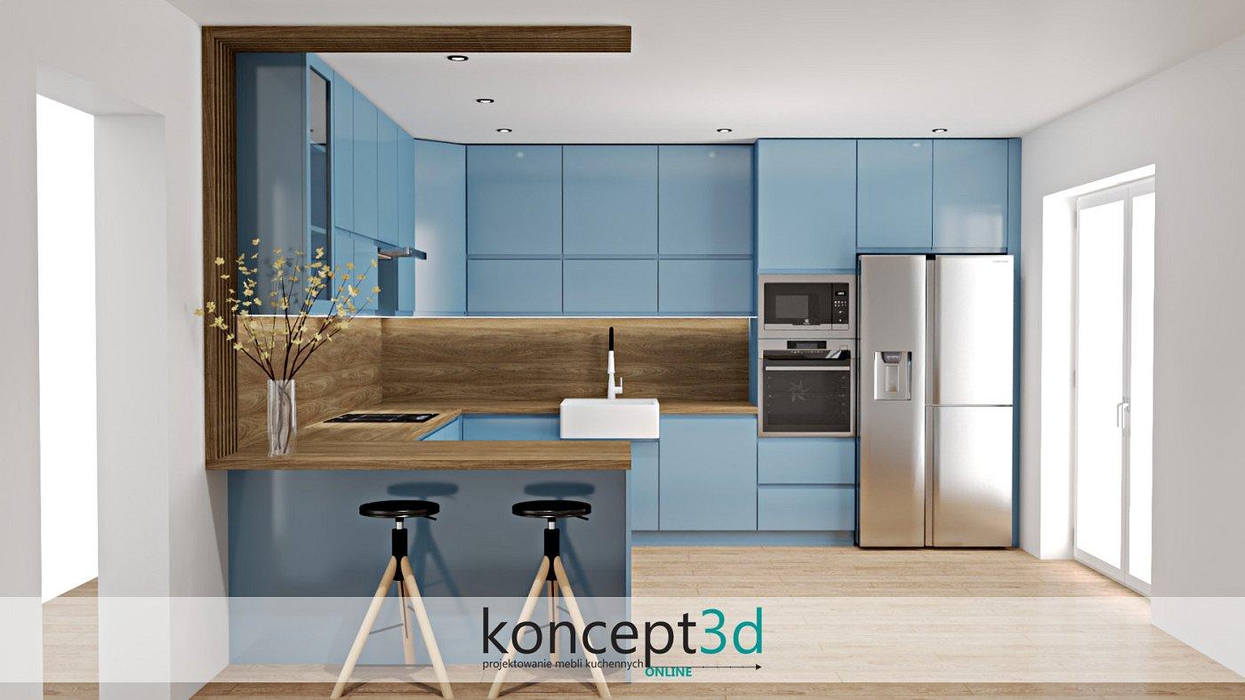 Ciekawa niebieska aranżacja mebli kuchennych z drewnem | koncept3d Warszawa