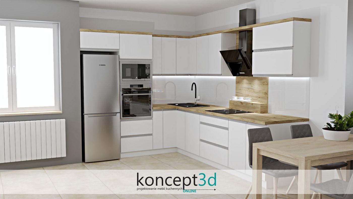 Projekt białej matowej kuchni w zestawieniu z drewnem koncept3d