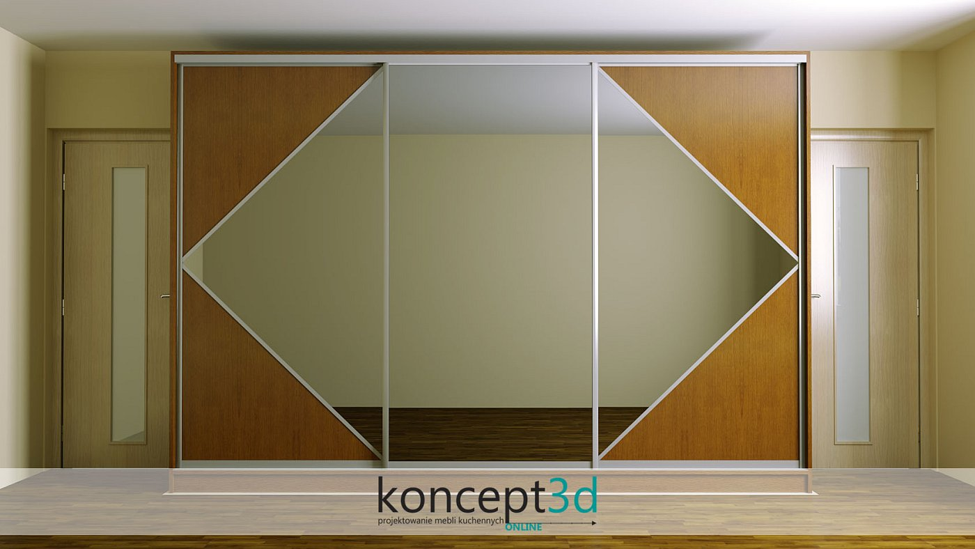 Troje drzwi suwanych z dużymi lustrami i aluminiowymi okuciami | koncept3d projekty kuchni