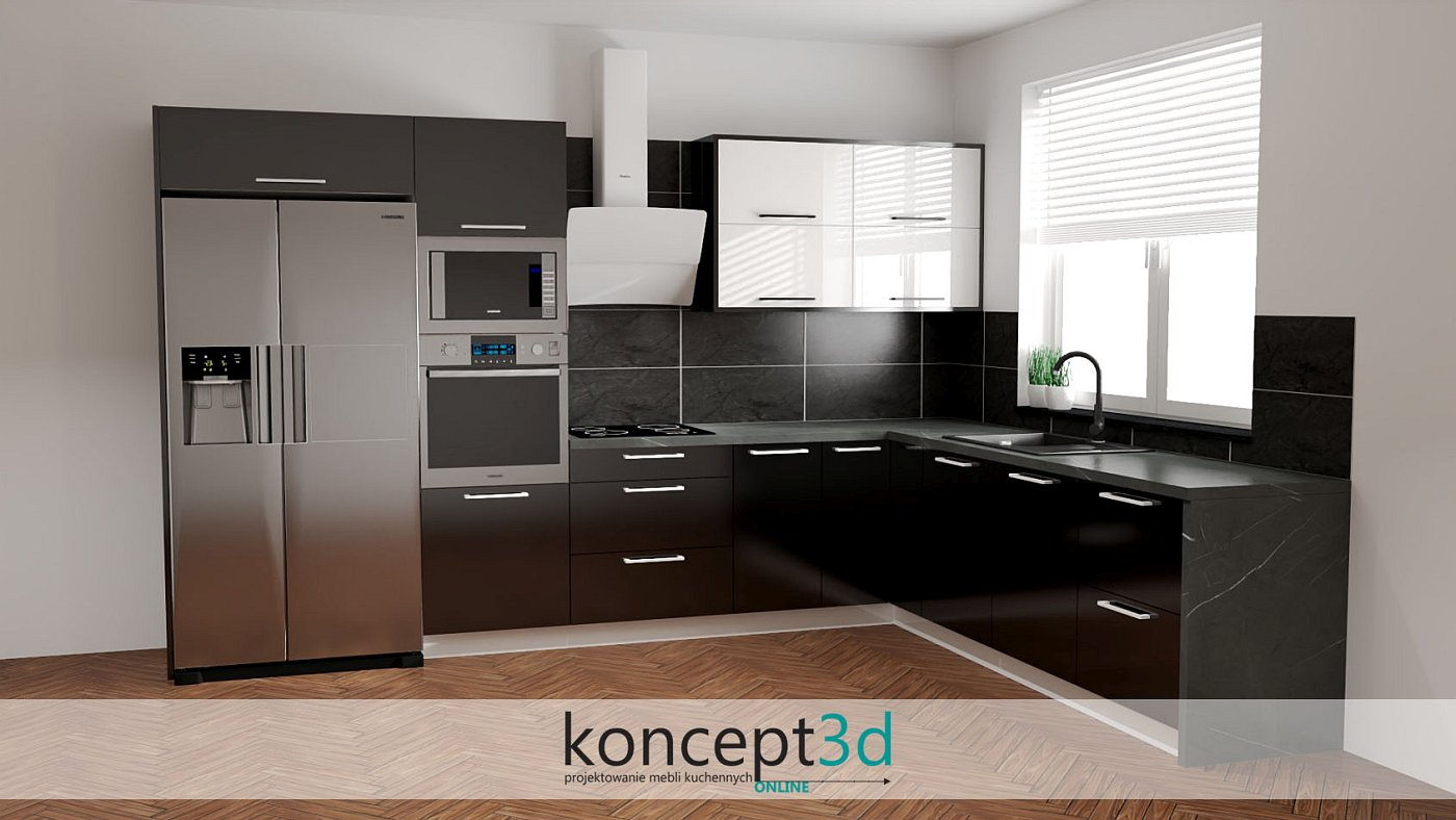 Matowa czarna kuchnia z białymi wiszącymi szafkami | koncept3d projekty kuchni