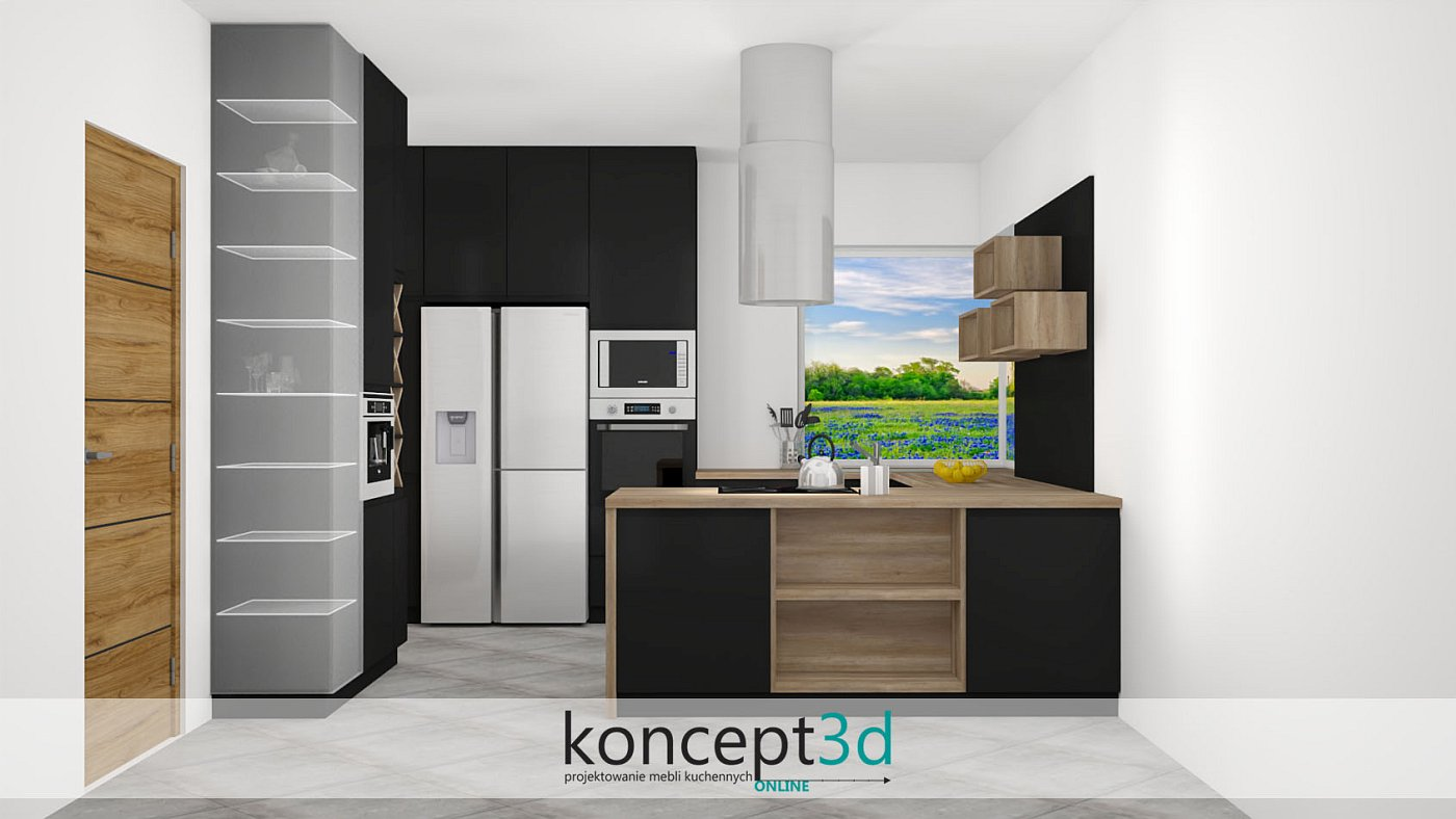 Czarna kuchnia z drewnianymi dodatkami w formie otwartych półek | koncept3d projekty kuchni
