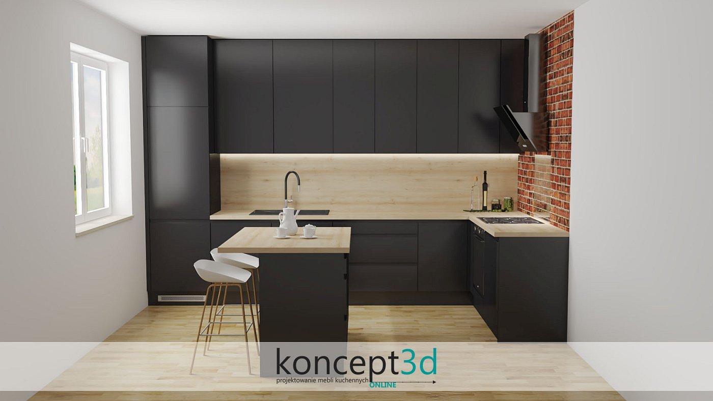 Wykończenie ściany nad blatem w formie drewna w czarnej kuchni | koncept3d projekty kuchni