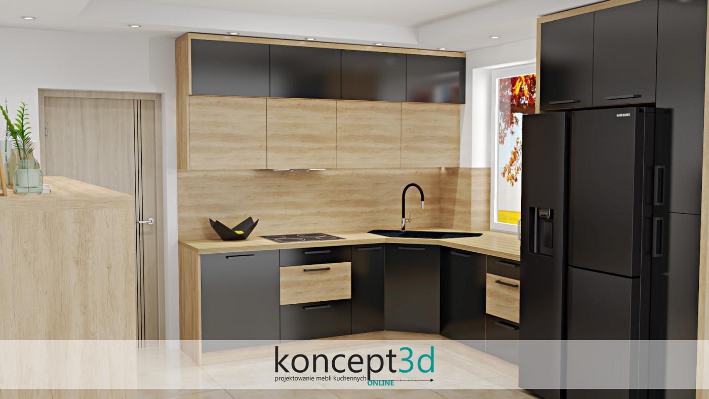 Drewno w czarnej kuchni to świetny i nowoczesny dodatek