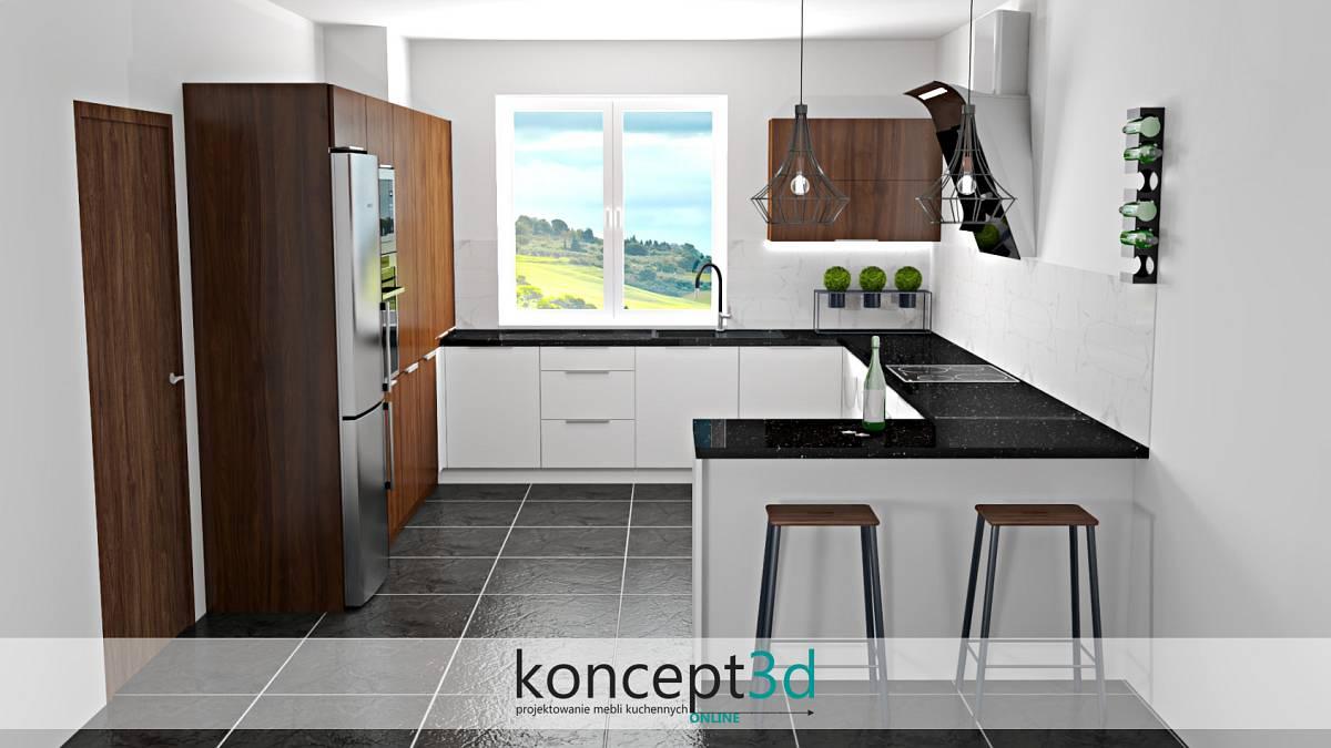 Wizualizacja mebli kuchennych bez szafek wiszących | koncept3d kraków