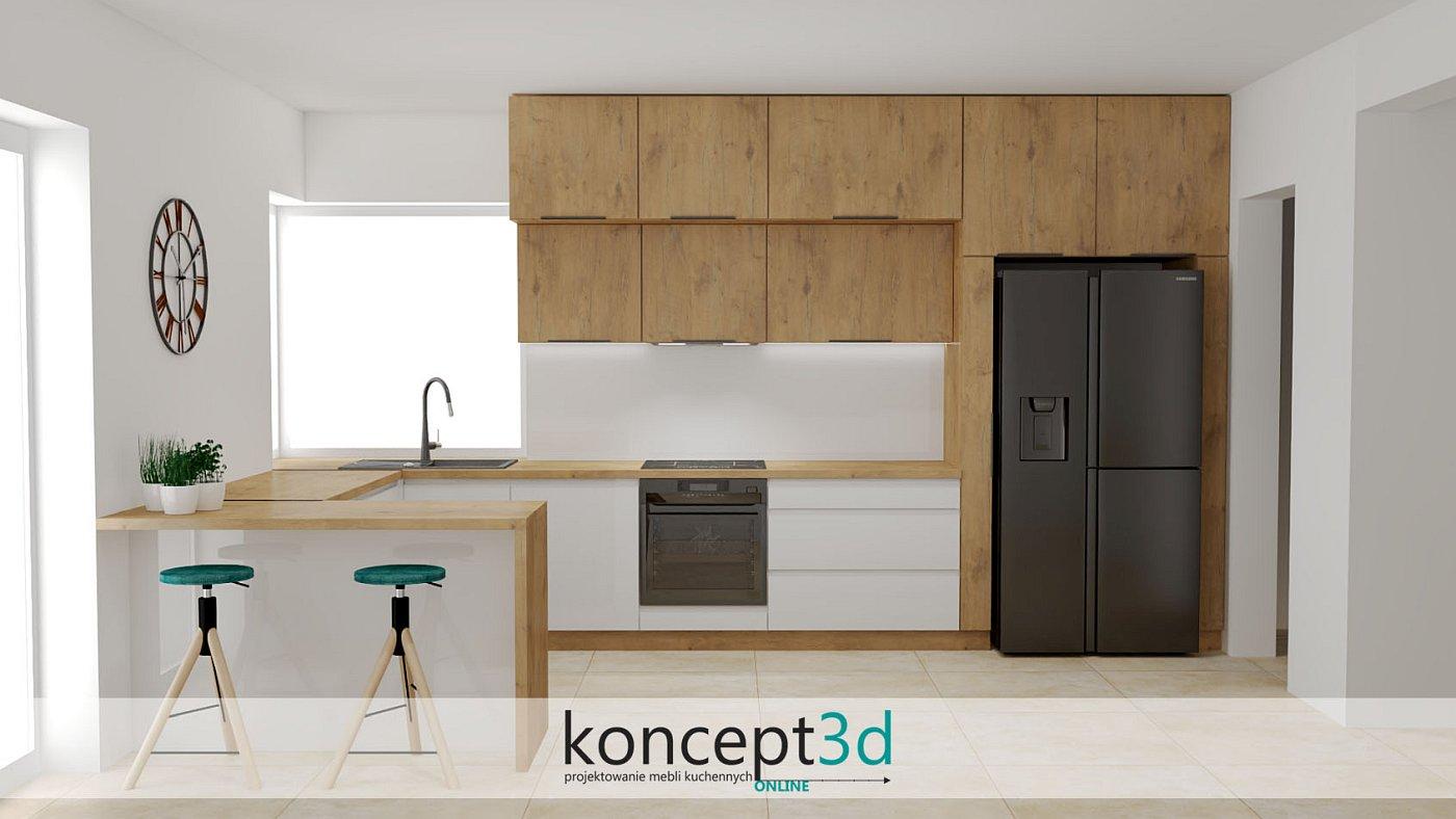 Aranżacja drewniano białej kuchni z czarną lodówką Side by Side | koncept3d projekty kuchni
