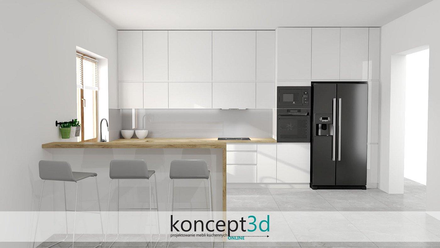 Czarne AGD w kuchni białej z drewnem | koncept3d projekty kuchni