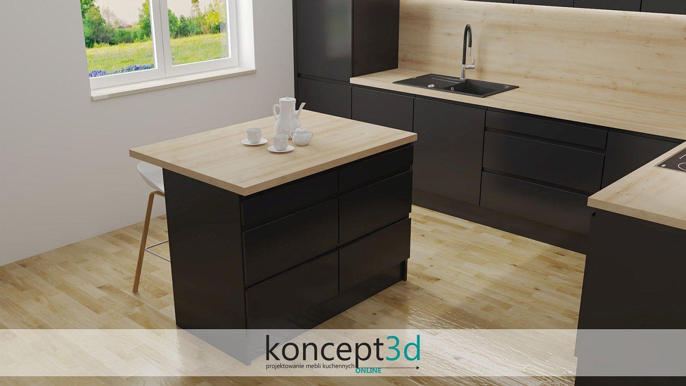 Wyspa kuchenna z drewnianym blatem w czarnych meblach kuchennych | koncept3d projekty kuchni