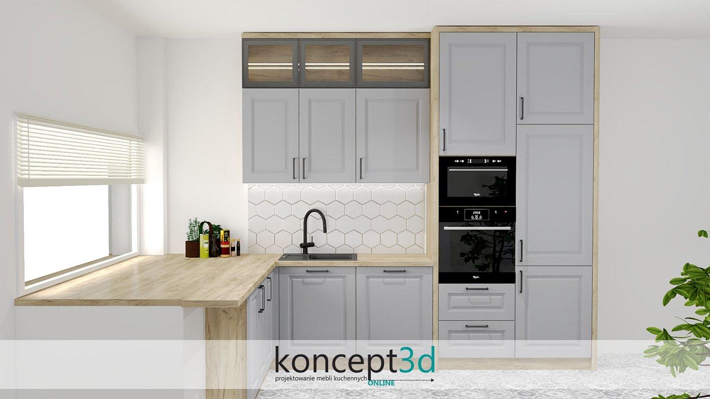 Projekt szarych mebli kuchennych z czarnym piekarnikiem i mikrofalą | koncept3d projekty kuchni