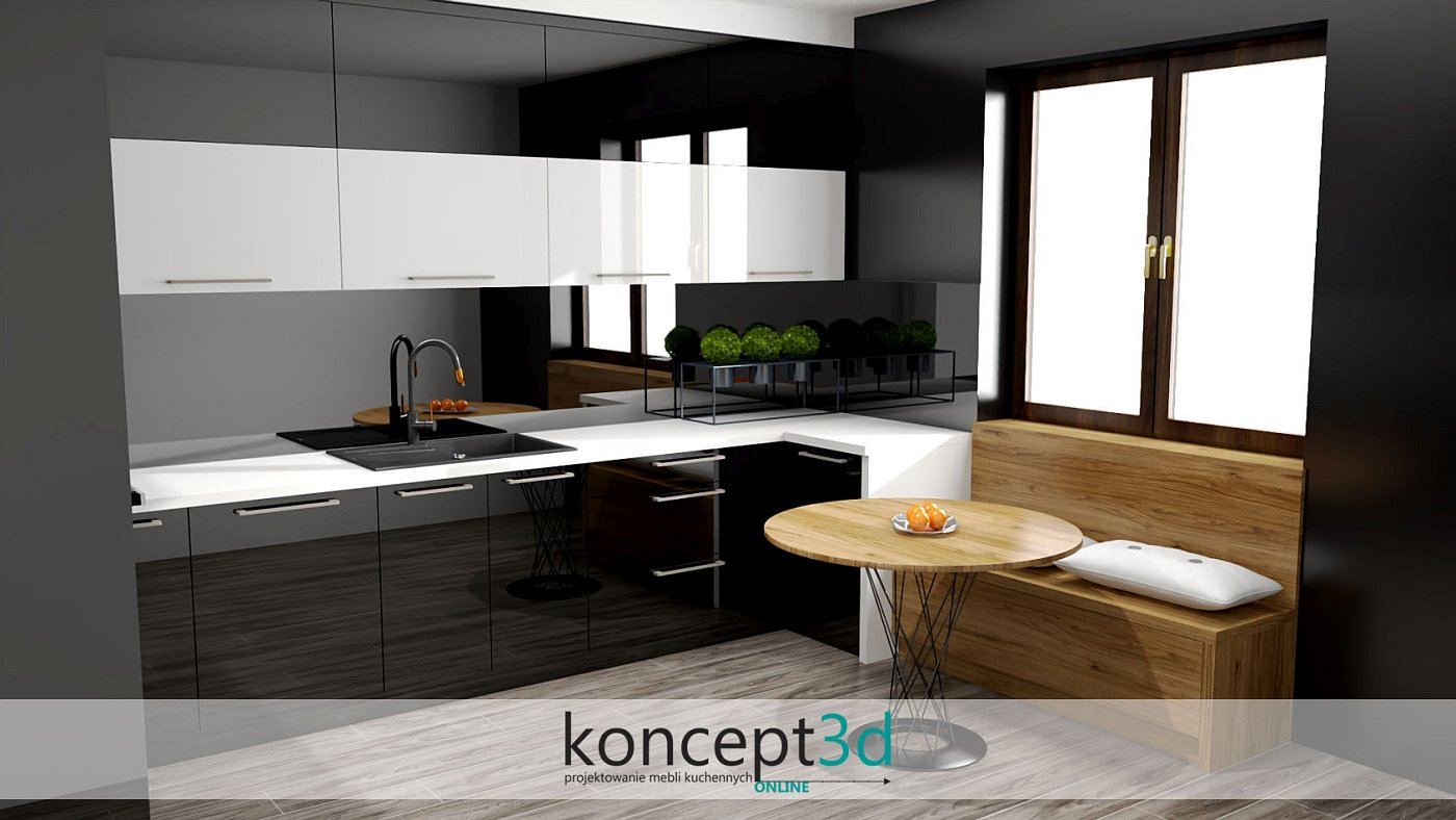 Połyskowa czarno-biała kuchnia z białym blatem | koncept3d projekty kuchni