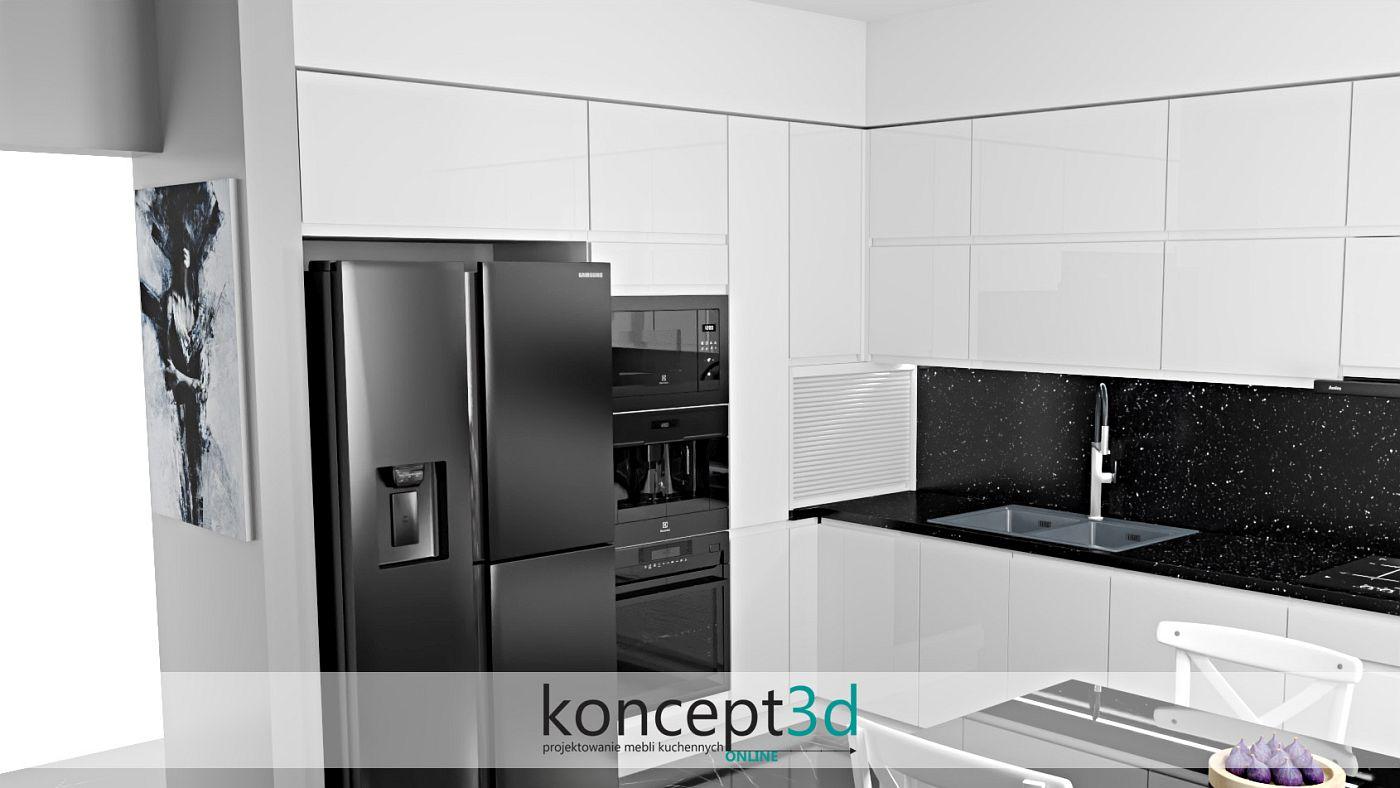 Czarna lodówka, piekarnik, mikrofala i ekspres do kawy w białej kuchni | meble kuchenne na wymiar Kraków