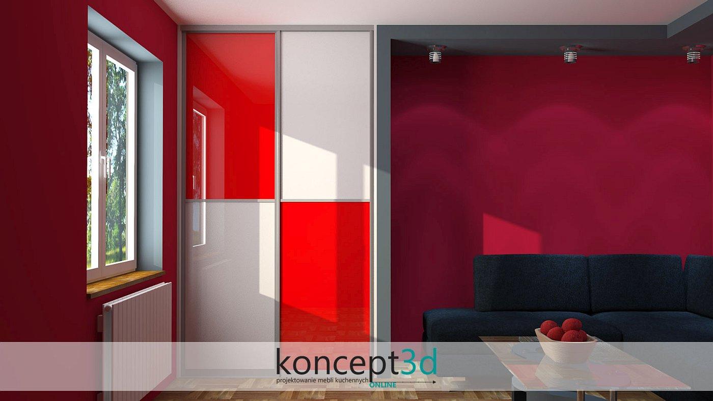 Czerwono-biała szachownica w meblach pokojowych pod sufit