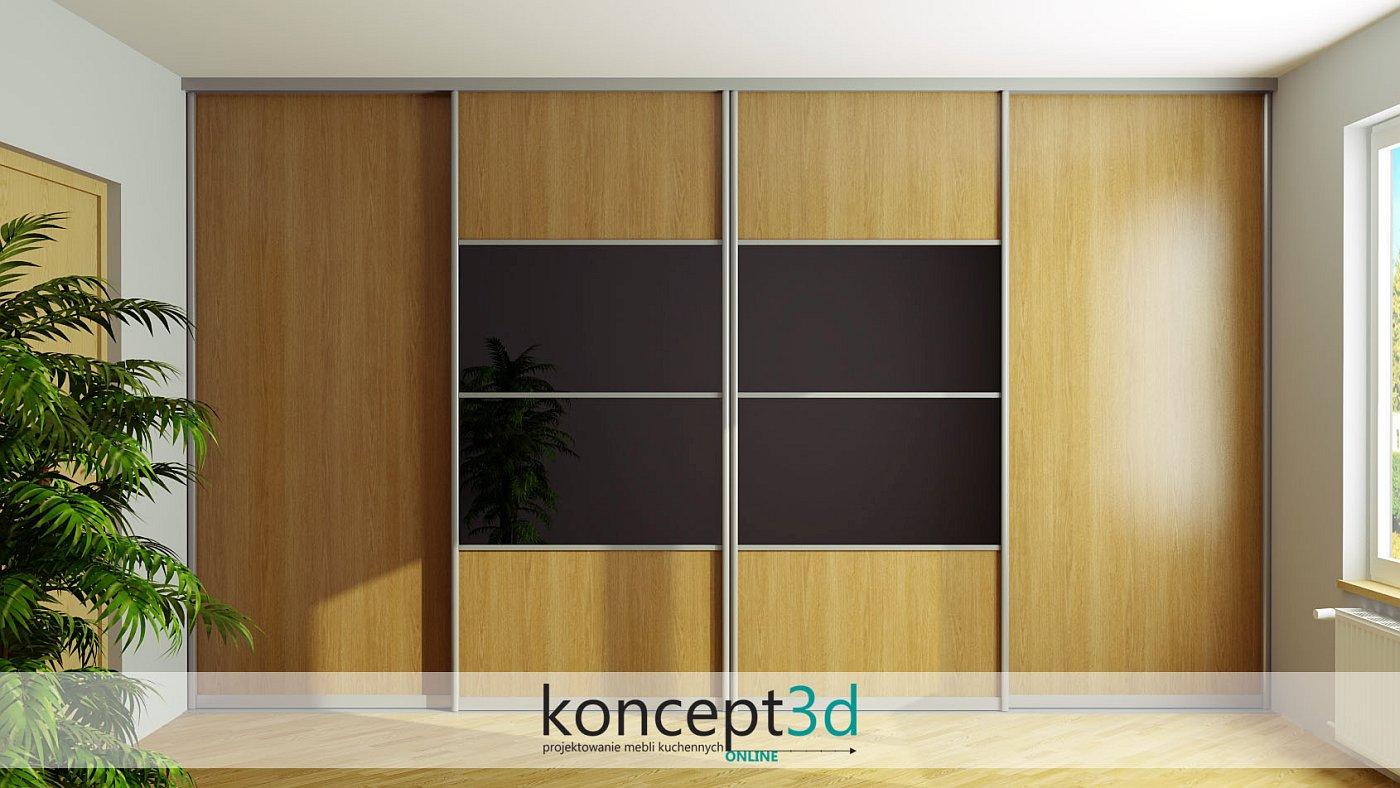 Projekt dużej suwanej szafy przesuwnej z czarnym lacobelem w środku | koncept3d