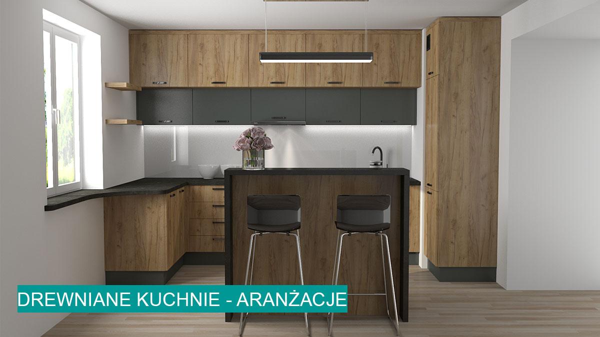 Gotowe projekty kuchni drewnianych | koncept3d