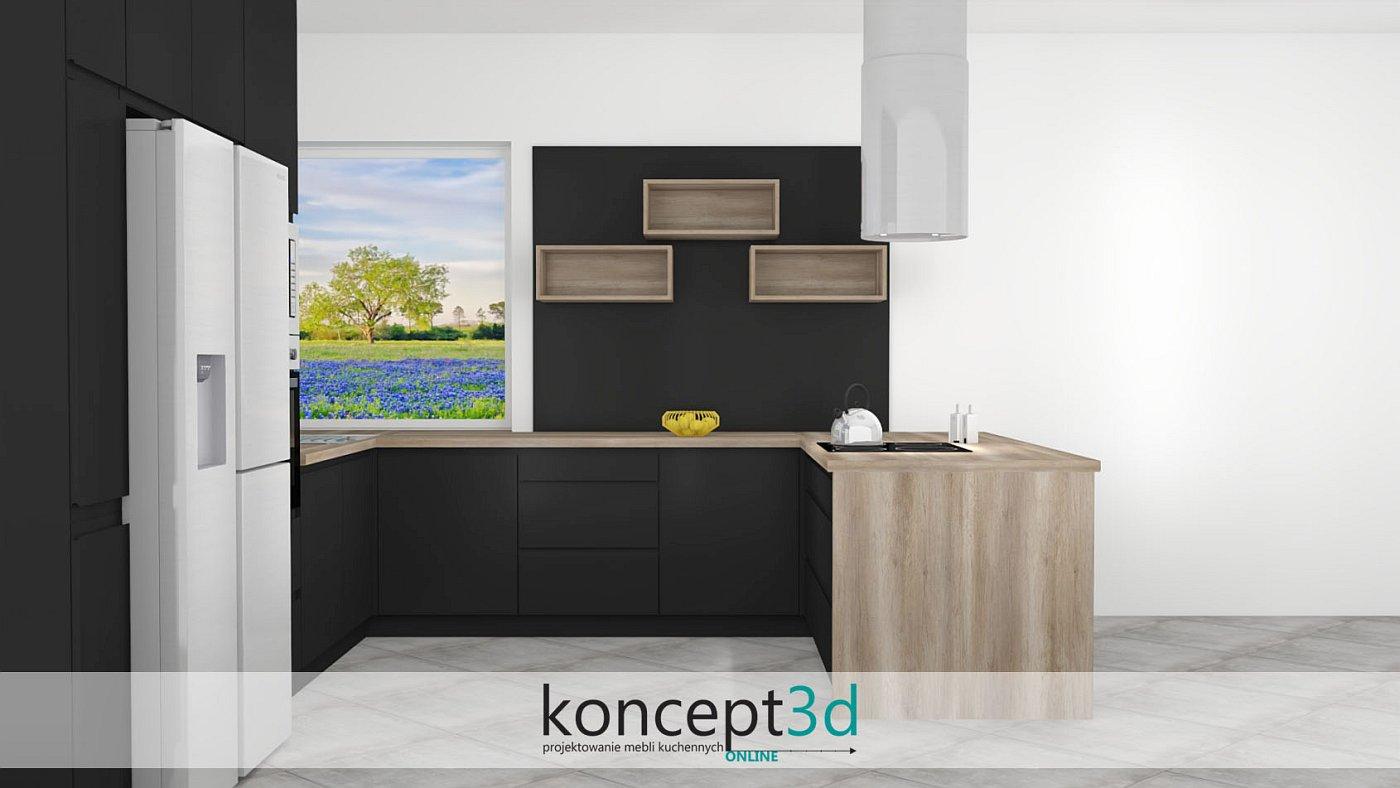 Drewniane półki na tle czarnej płyty matowej