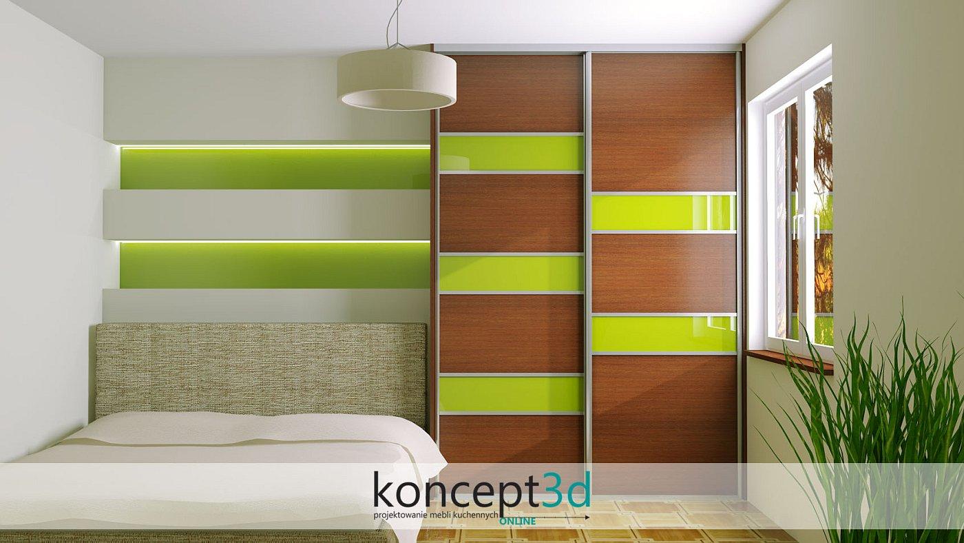 Piękny zielony kolor wygląda świetnie jako wstawki w szafie przesuwnej | koncept3d projekty kuchni