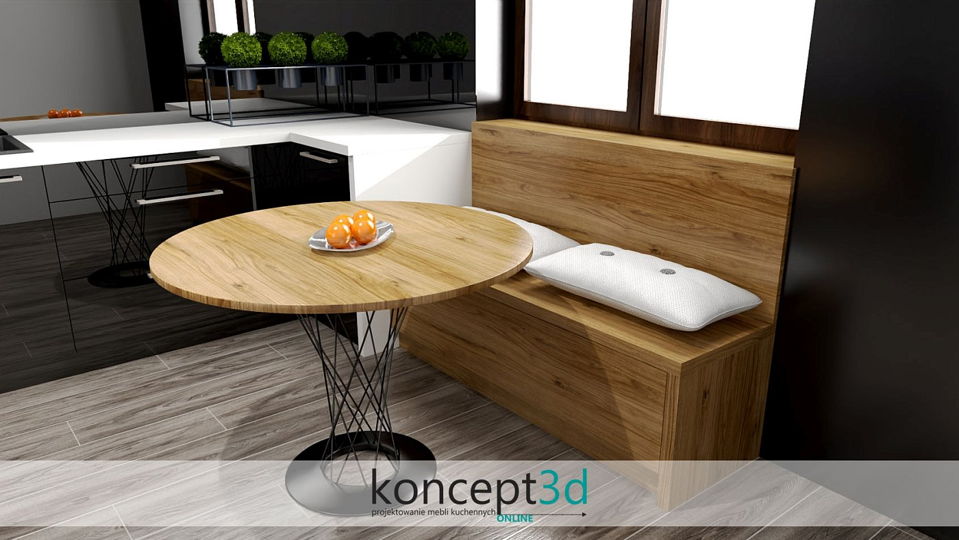 Czarna kuchnia z drewnianym stolikiem pod oknem | koncept3d projekty kuchni