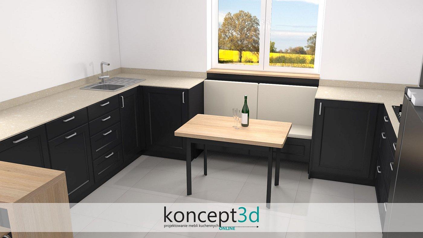 Ciemna kuchnia z drewnianym stolikiem i ławeczką pod oknem