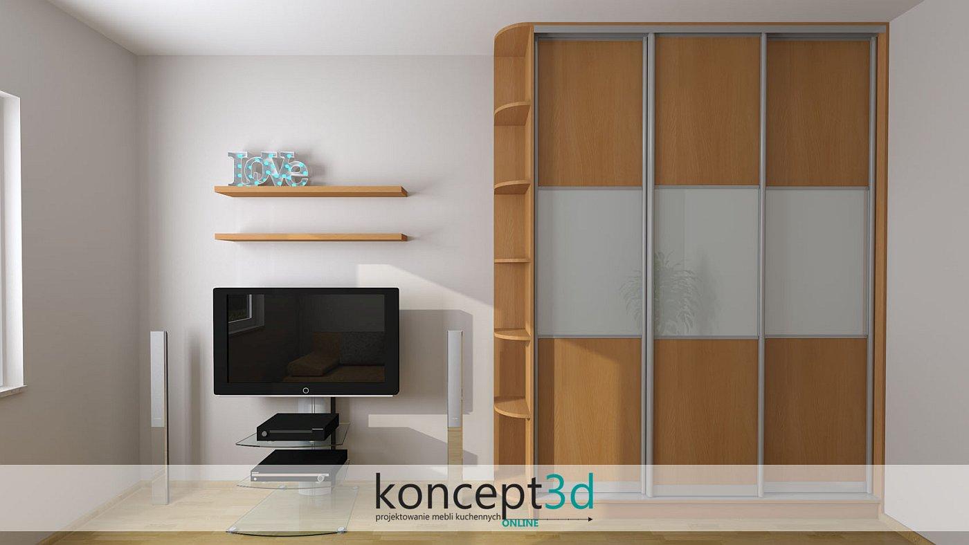 Szafa przesuwna zakończona półkami otwartymi z lewej strony i paskiem lacobelu przez środek drzwi | koncept3d projekty kuchni