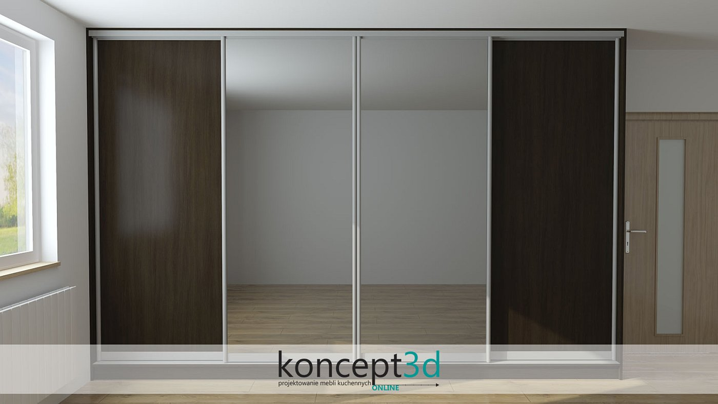 Duża szafa przesuwna i 4 drzwi. 2 x drzwi przesuwne lustro i 2 x pełne z płyty | koncept3d projekty kuchni
