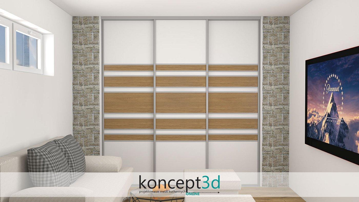 Białe drzwi przesuwne w salonie połączone z drewnianymi dodatkami wyglądają bardzo modnie i świeżo | koncept3d