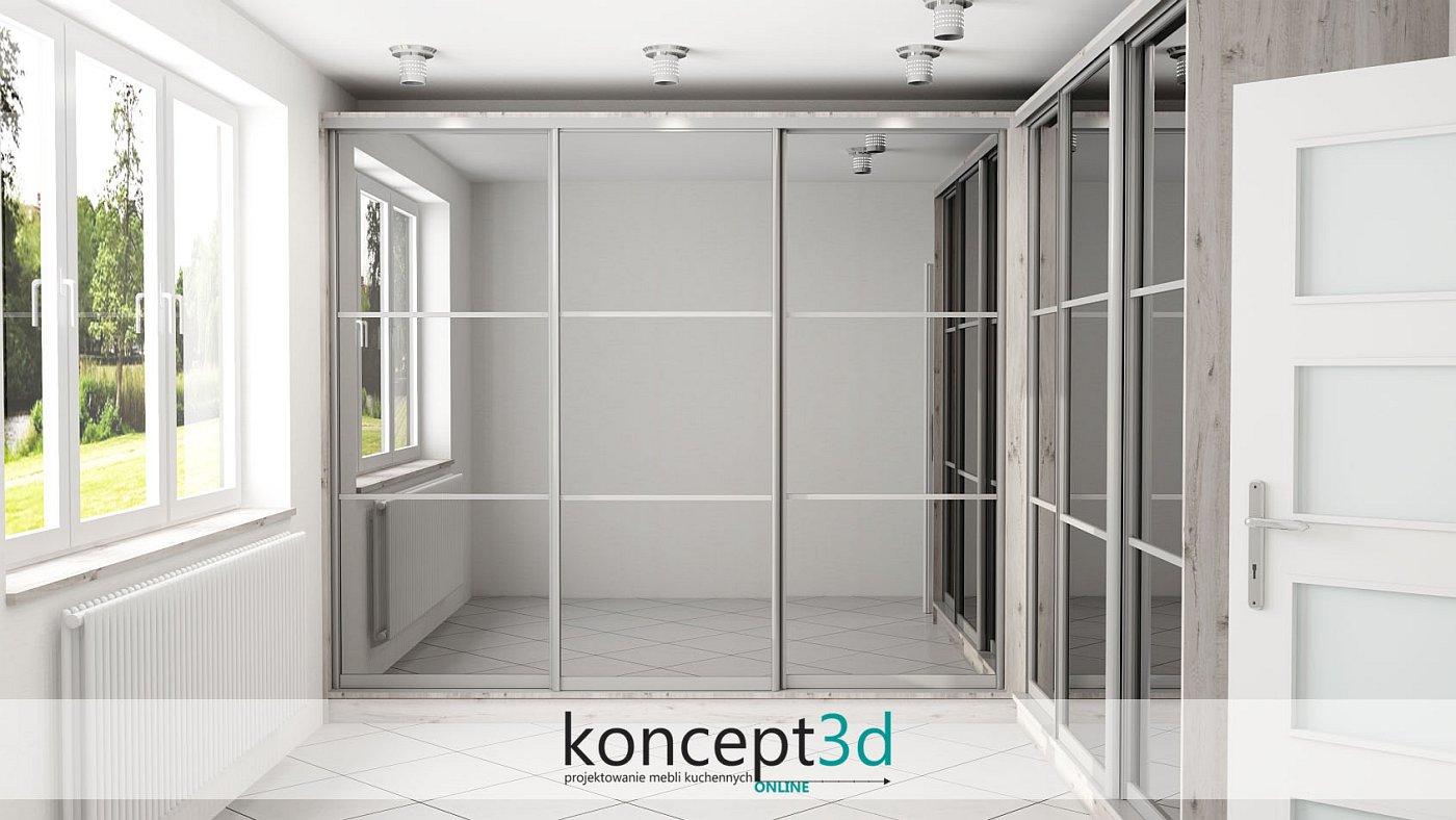 Troje przeszklonych drzwi w garderobie to nowoczesne rozwiązanie