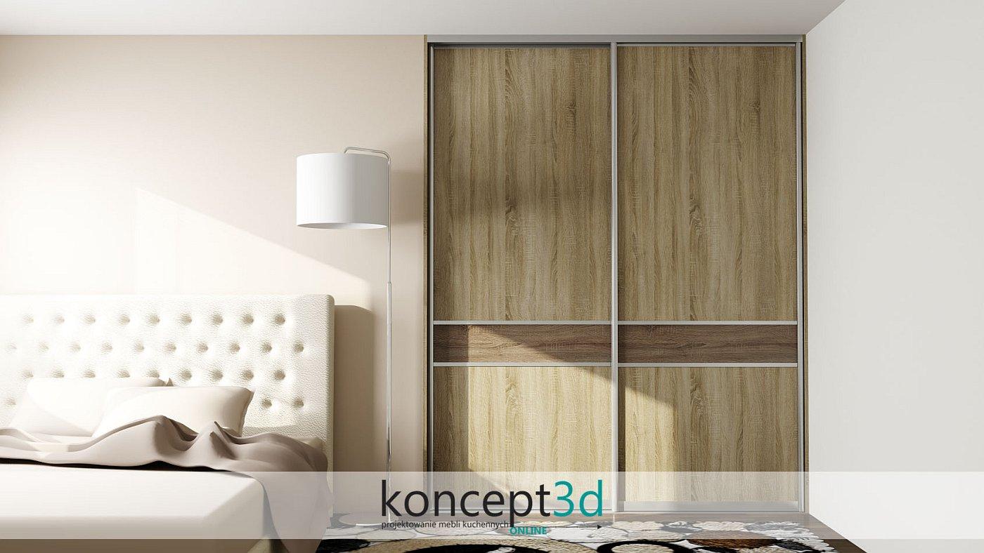 Projekt szafy z dwuskrzydłową szafą suwaną w sypialni | koncept3d projekty kuchni