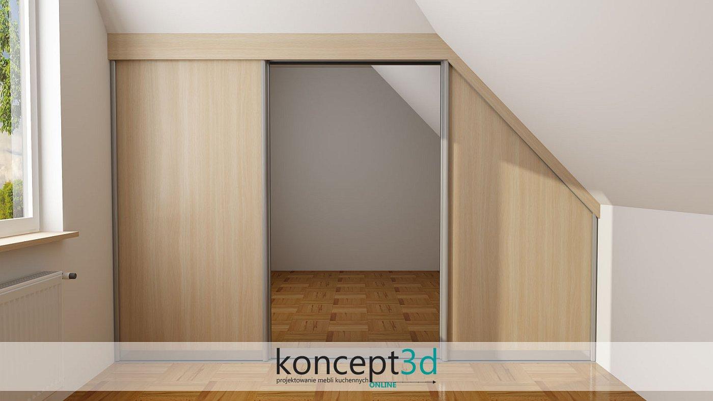 Drzwi przesuwne w skosie z lustrem na środku | koncept3d projekty kuchni