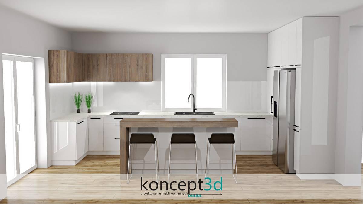 Duża biała kuchnia z blatem białym i wyspą na środku   koncept3d projekty kuchni