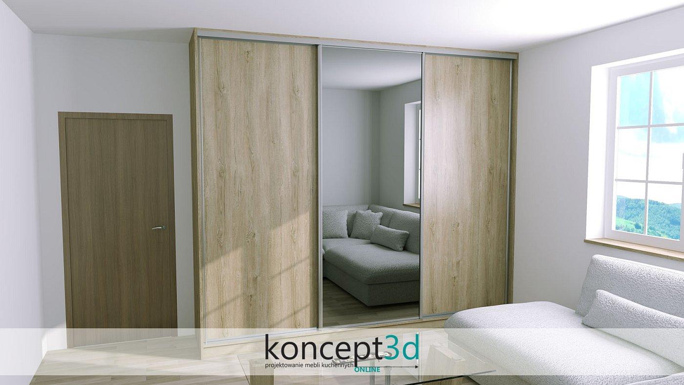 Szafa przesuwna z trojgiem dwrzi. Dwoje drzwi drewnianych i jedno lustro na środku | koncept3d projekty kuchni