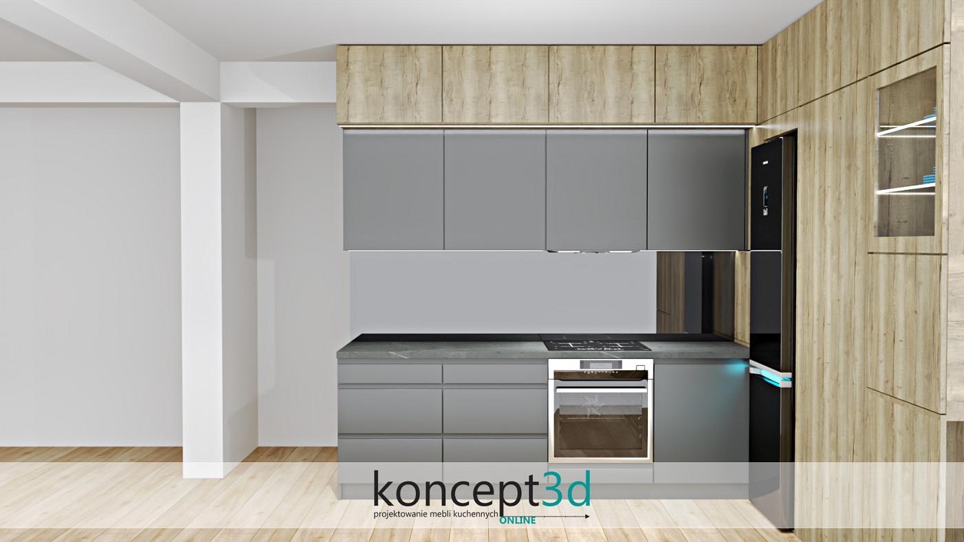 Projekt szarej kuchni z szafkami wiszącymi w dwóch głębokościach   koncept3d projekty kuchni