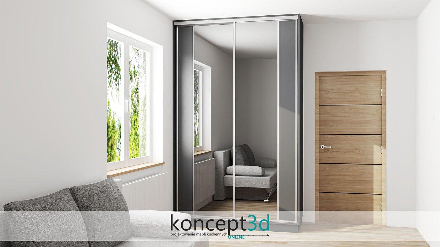 Mała przesuwna szafa z ciekawym podziałem drzwi i aluminiowymi rączkami | koncept3d