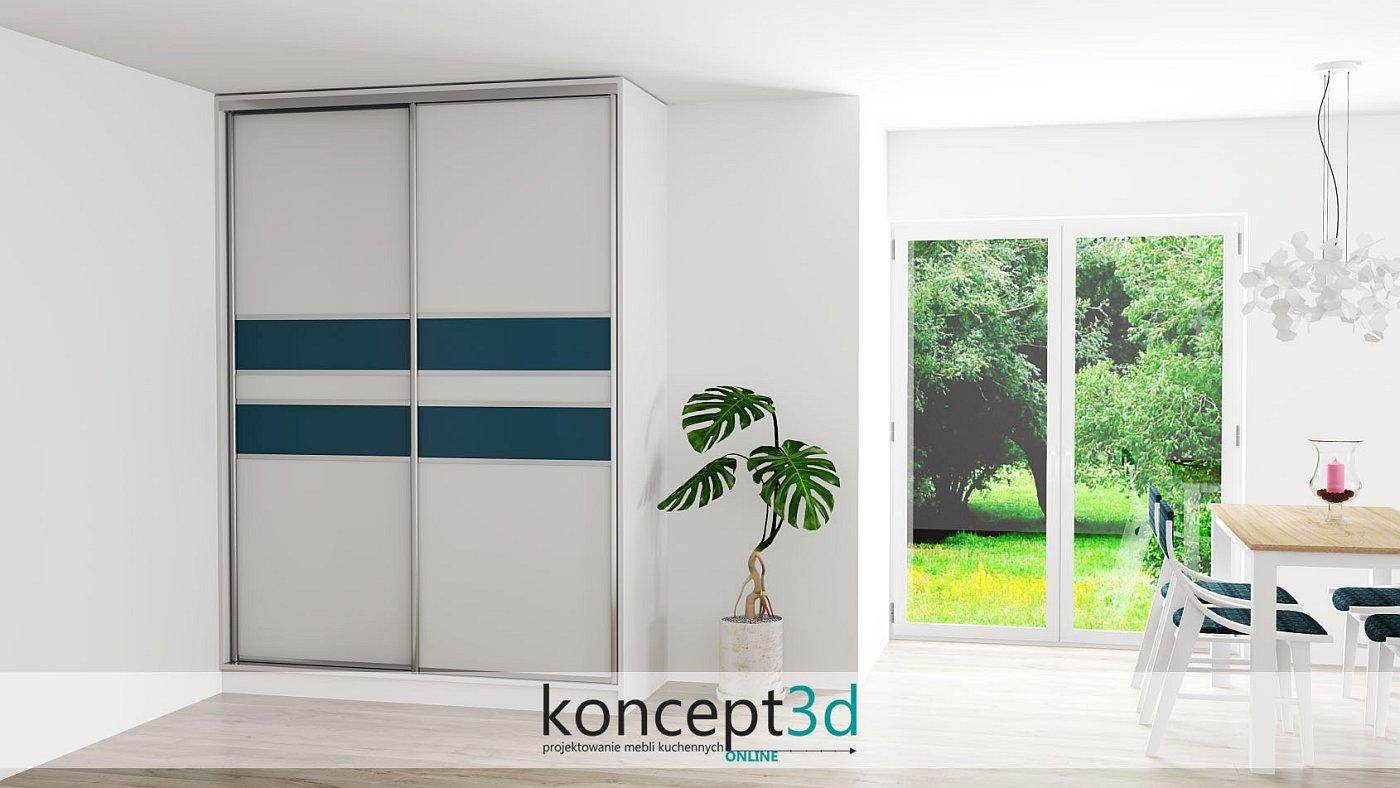 Eleganckie drzwi suwane w jasnych odcieniach z granatowymi elementami | koncept3d projekty kuchni