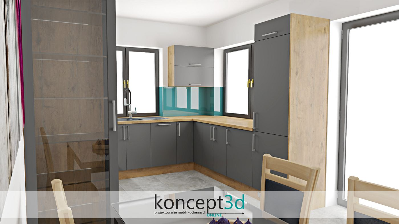Drewniany blat w szarej kuchni może stać się odpowiednim wyborem   koncept3d projekty kuchni