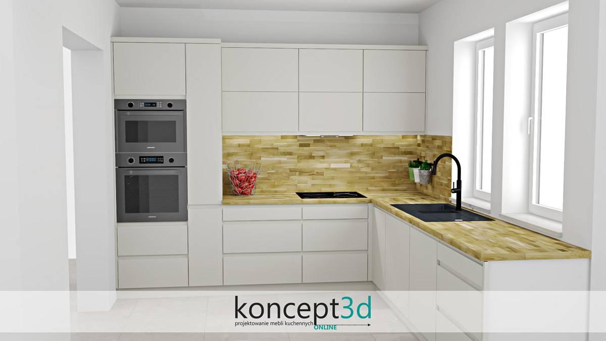 Beżowa kuchnia z blatem oraz zabudową na ścienie w formie drewna klepki | koncept3d