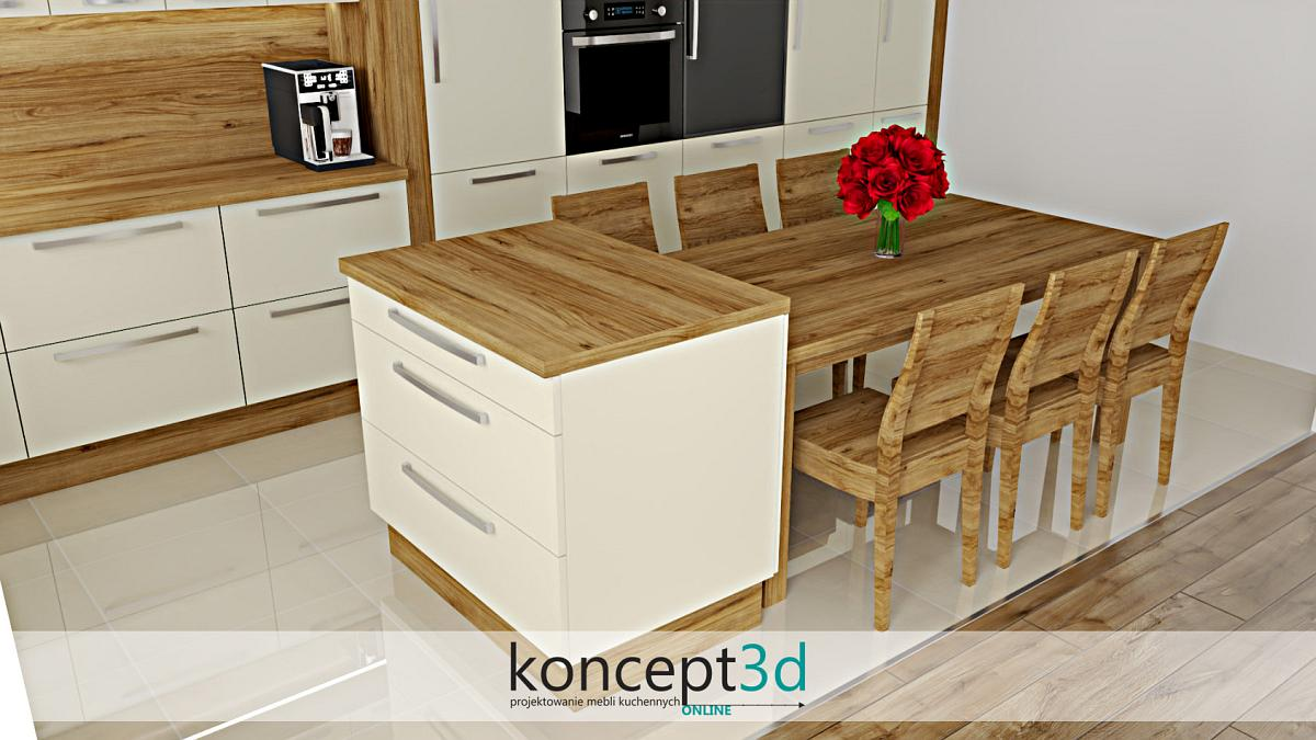 Kremowa wyspa kuchenna z szufladami i elementami drewnianymi | koncept3d projekty kuchni