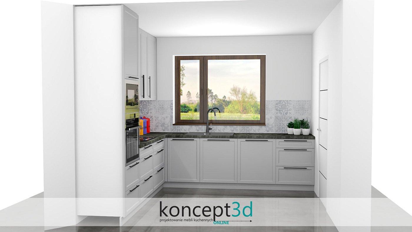 Meble kuchenne lakierowane na jasny szary kolor z ciemnym blatem   koncept3d projekty kuchni