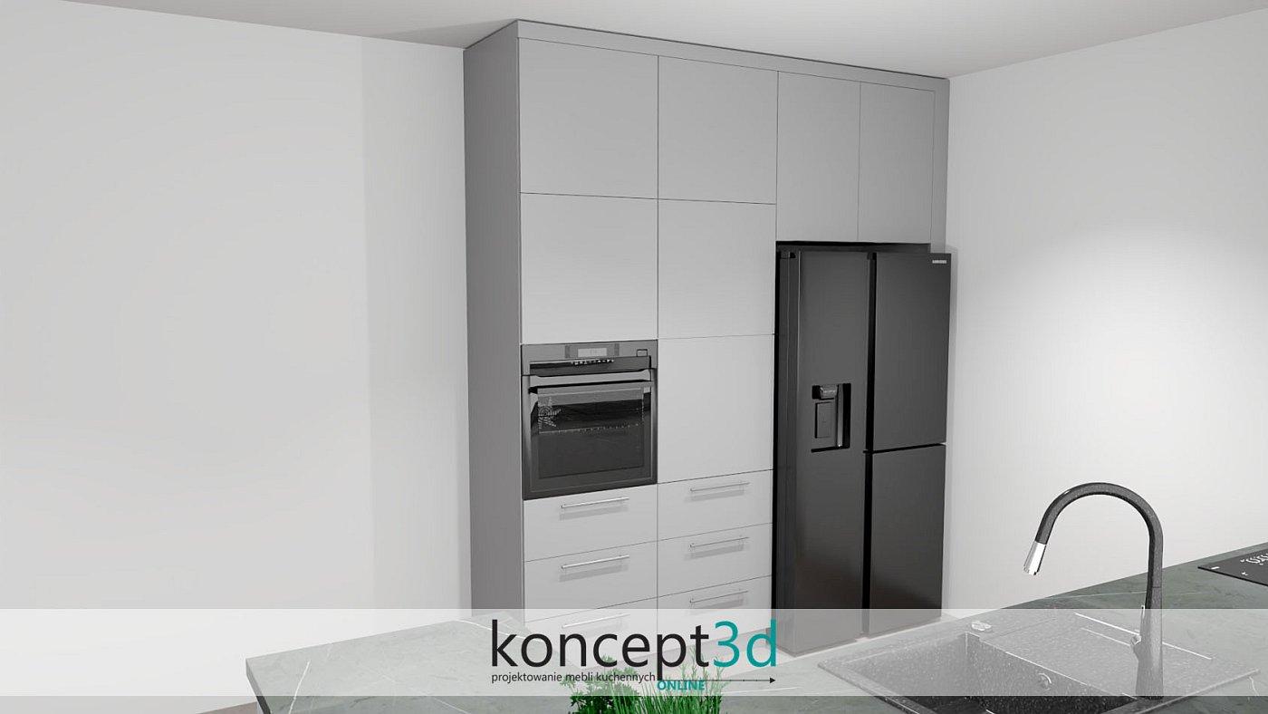 Wysoki słupek ze sprzętem AGD w jasnej szarości   koncept3d projekty kuchni
