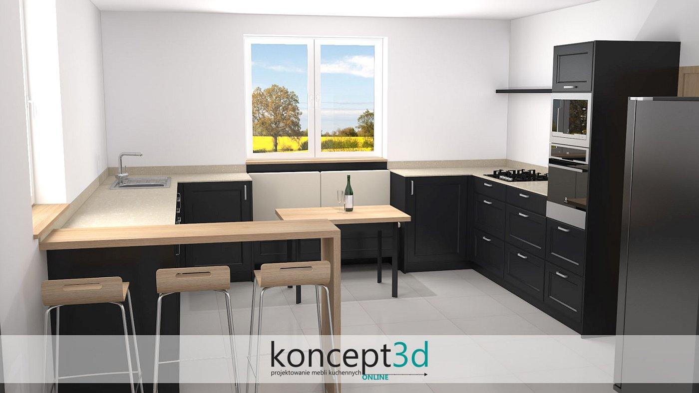 Wizualizacja czarnej kuchni z drewnem i ladą | koncept3d projekty kuchni