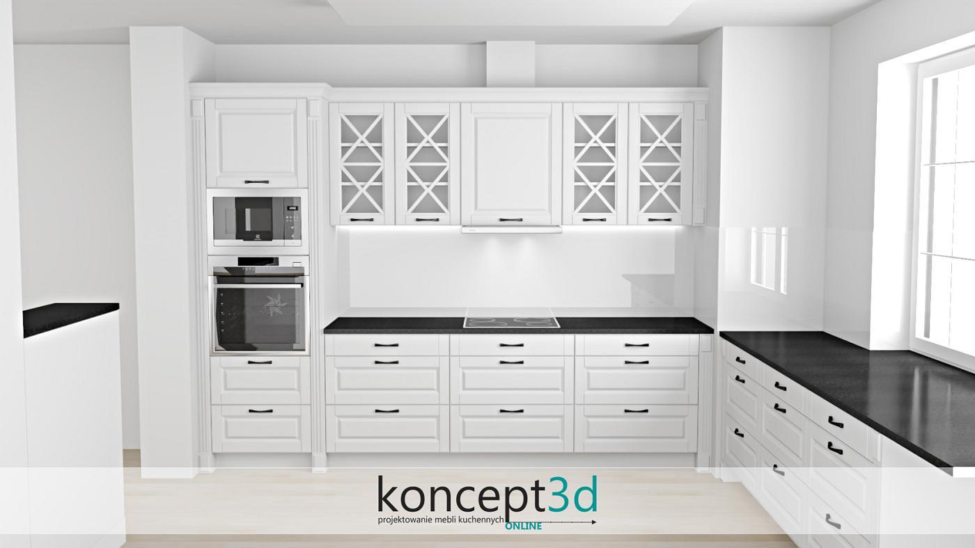 Czarny blat w klasycznej białej kuchni z białym szkłem na ścianie   koncept3d projekty mebli kuchennych i wizualizacje mebli