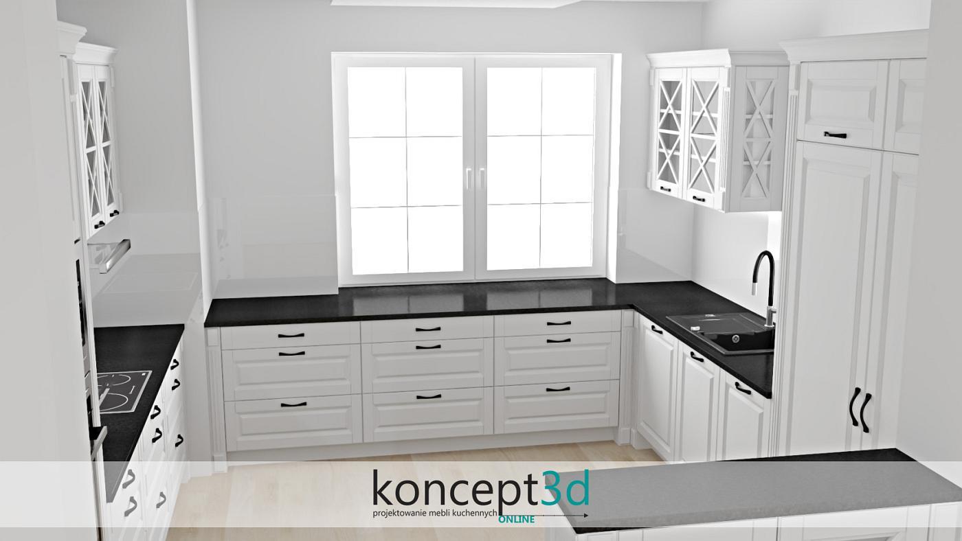 Klasyczna kuchnia z czarnym blatem i drewnianą podłogą   koncept3d Kraków ciekawe kuchnie