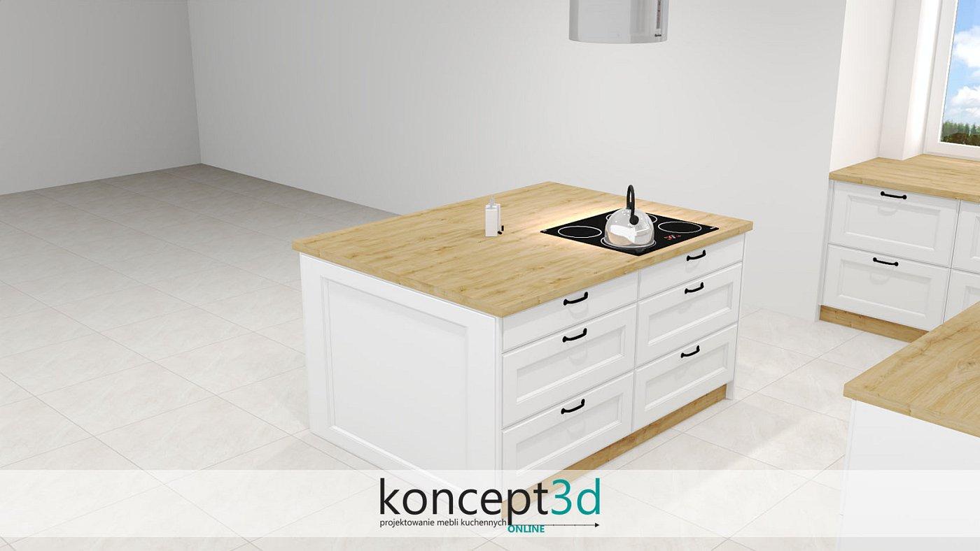 Czarne uchwyty i drewniany blat w białej ladzie | koncept3d projekty kuchni