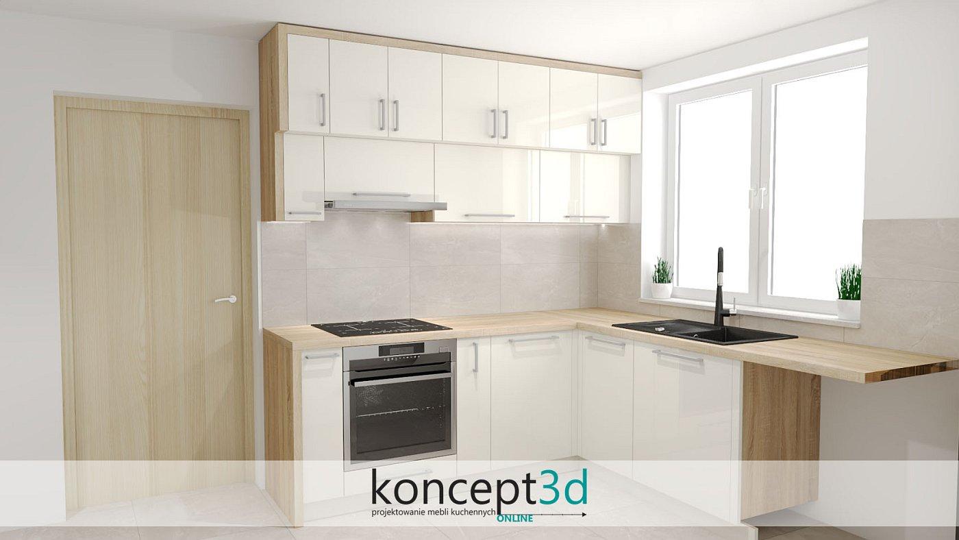 Beżowy lakier połyskowy w kuchni to często wykorzystywany motyw