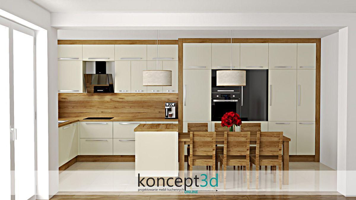 Kremowa kuchnia z drewnem, stołem i wyspą | koncept3d projekty kuchni