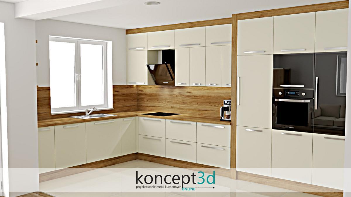 Lakierowana kremowa kuchnia z drewnianym blatem i zabudową na ścianie | koncept3d